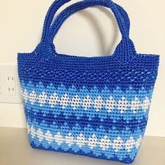 Images about #スズランテープ tag on instagram Knitted Bags, Crochet Bags, Tapestry Bag, Straw Bag, Crochet Patterns, Plastic Bags, Knitting, Image, Instagram