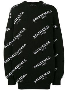 BALENCIAGA Oversized All-Over Logo Sweatshirt. #balenciaga #cloth #sweatshirt