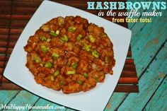 Hash browns in the waffle maker... Frozen tater tots transform into hash browns with a waffle iron! Make them healthy by substituting my zucchini tots!