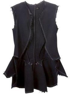 raw cut denim waistcoat