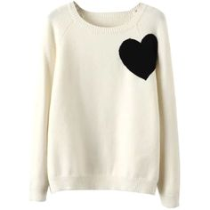 White Heart Pattern Long Sleeve Knitted Sweater ($37) ❤ liked on Polyvore featuring tops, sweaters, long length sweaters, long sleeve sweaters, white top, round top and heart print sweater
