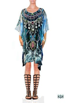 Now selling: Devarshy Beautiful Blue Waves Digital Print Crystals Embellished Pure Silk Short Designer Kaftan  https://www.etsy.com/listing/501592074/devarshy-beautiful-blue-waves-digital?utm_campaign=crowdfire&utm_content=crowdfire&utm_medium=social&utm_source=pinterest