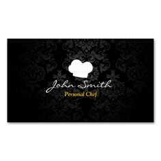 Stylish Dark Damask Personal Chef Business Card. Make your own business card with this great design. All you need is to add your info to this template. Click the image to try it out!