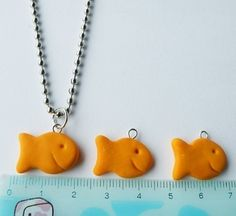 polymer clay miniature food Goldfish Necklace