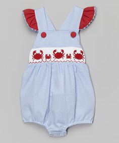 Love this Smocked or Not Light Blue & Red Crab Smocked Ruffle Bodysuit - Infant & Toddler by Smocked or Not on #zulily! #zulilyfinds