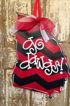 Wooden Door Hanger, State Door Hanger, Game day Door via Etsy. I know a few people who would love this! Different then most things you see for Ga! Could do for college team too! Love!
