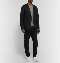 THEORY BLACK UNSTRUCTURED STRETCH WOOL. #theory #cloth Fashion Advice, Fashion News, English Shop, Common Projects, White Sneakers, Wool Blend, Luxury Fashion, Suit Jacket, Trousers