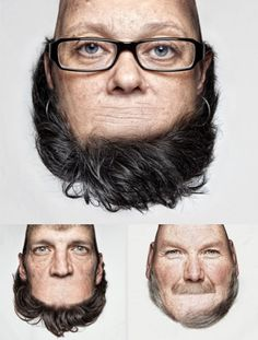 Thorsten Schmidtkord's Head on Top has really turned photography on its head.The German portrait photographer has created these images using photo manipulation software to swap the chin of his subject. Photomontage, Schmidt, Doja Cat, Foto Art, Photo Series, Creative Portraits, Art Plastique, Double Exposure, Photo Manipulation