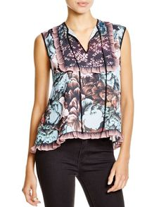 Clover Canyon Floral Sunset Top