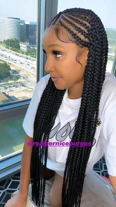 Black Girl Braided Hairstyles, Black Girl Braids, Braids For Short Hair, Long Braids, Cornrows Braids For Black Women, African Box Braids, Dookie Braids, Feed In Braids Ponytail, Sew In Braids