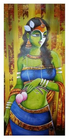 Modern Indian Art, Indian Folk Art, Modern Art, Krishna Painting, Krishna Art, Figure Painting, Painting & Drawing, Rajasthani Painting, Indian Art Gallery