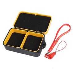 uxcell® Plastic 2 Compartment Fishing Lure Bait Storage Case Yellow w Strap * Click on the image for additional details.