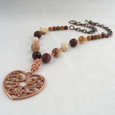 ONE DAY SALE Mookaite Necklace in Browns and Creams with Copper Heart Pendant £9.95