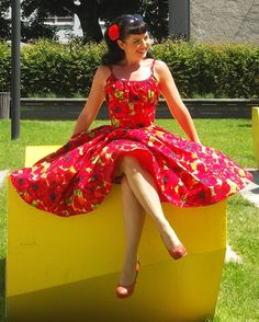 Items similar to Pinup dress Summer Poppies  PLUS SIZE AVAILABLE 13b1a6ecb3817