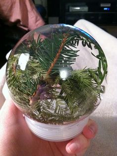 Natural Artifact Globes tutorial- Reggio Emilia Inspired Preschool Activity. Would be fun to go on a nature walk, fill with what we can find, add water, then hang on our own tree in the classroom at Christmas time