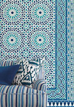 Schumacher Byzantium wallcoverings:  Nasrid Palace mosaic