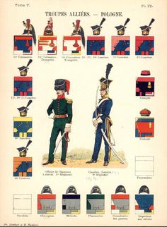 Duchy of Warsaw; Uniform colours for cavalry(14th-20th regts) and Krakus and various service corps