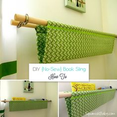 Sew Curtains DIY No-Sew Book Sling - cute for the nursery, no sewing required! - DIY No-Sew Book Sling - cute for the nursery, no sewing required! No Sew Curtains, Rod Pocket Curtains, Home Projects, Sewing Projects, Projects To Try, Book Sling, Bookshelves Kids, Book Storage, Diy For Kids