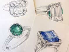 Jewelry Sketch, Jewellery Sketches, Jewelry Illustration, Watercolours, 2d, Jewlery, Fashion Accessories, Jewelry Design, Behance