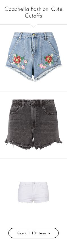 """""""Coachella Fashion: Cute Cutoffs"""" by polyvore-editorial ❤ liked on Polyvore featuring cutoffs, shorts, bottoms, blue, house of holland, blue shorts, jean shorts, denim short shorts, blue jean shorts and grey"""