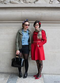 http://www.carlytati.com Paris Street Style. Turbans. Denim shirts. Women's surplus coats. Women's trench coats. Red. Burberry scarf. Women's lace tights. Women's hairstyles.  Paris Fashion Week.