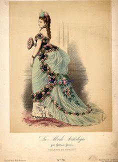 1870-1890  Epoka: późna epoka wiktoriańska (epoka tiurniury)  Charakterystyczne: nacisk na tył sukni, lata 70.: nieco podwyższona talia, szersza, bardziej trapezoidalna suknia, wygląd chodzącego tortu z bitą śmietaną; lata 80.: stanik zachodzący na biodra, bardziej opływowe kształty, wąska suknia. Treny! (warto zaopatrzyć się w pazia do przytrzymania materiału w tańcu). Nie noszono sukien bez ramiączek!  Lata 70.:
