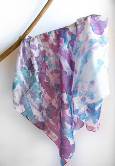 Violet and blue Hand Painted Silk Scarf - periwinkle and lilac abstract shawl