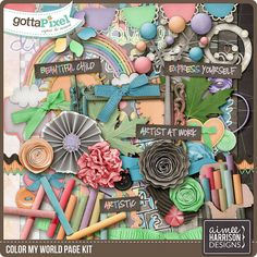 Color My World Page Kit :: Gotta Pixel Digital Scrapbook Store by Aimee Harrison $6.99
