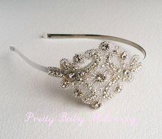 1920s Flapper Bridal Headband - bridal headband, art deco crystal rhinestone bridal hair accessories, bridal head piece, headpiece SILVER
