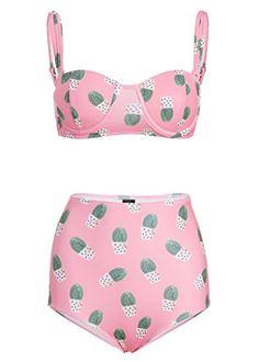 Womens Pink Cactus High Waist Bikini Set Retro Swimsuit -Size Small Pretty Attitude http://www.amazon.com/dp/B010BWPIKI/ref=cm_sw_r_pi_dp_O8DKwb1EFYAV7