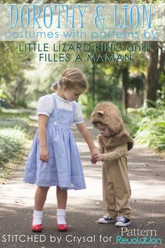 Dorothy and Cowardly Lion costumes for kids // Wizard of Oz // How to sew them