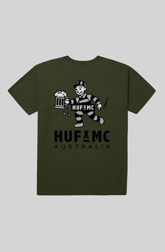 HUF x MC Bubble Tee - Military.  In aid of the good times that we had with the HUF gang we've cooked up an exclusive collab. The logo, naturally, is a prisoner holding an ale: because most of us from 'down under' are descended from convicts, and liking beer's the one thing that we can all agree on.  Limited edition HUF x MC Range. Custom 'Bubbles' front pocket and large back print. 100% cotton tee.