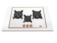 Pramar Stone Dekton Flat 3 Burners Hob. Defendi black burners. Bronze details.