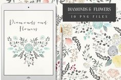 Diamonds and Flowers by Webvilla on Creative Market