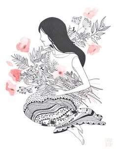 Flower Lady by Oana Befort. Lovely pen and ink~