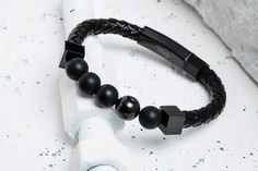 92889c8eaf53 Perlen - beaded leather bracelet detailed with Matte Black by Vitaly