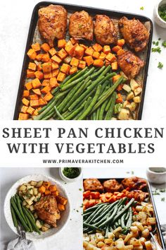 Sheet pan chicken with vegetables uses fresh ingredients pantry staples for a delicious meal. Make this recipe tonight in just under an hour! Gluten Free Recipes For Breakfast, Best Gluten Free Recipes, Easy Healthy Recipes, Lunch Recipes, Real Food Recipes, Dinner Recipes, Recipe Tonight, Fall Lookbook, Dinners
