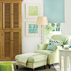 Plush, calm furnishings decorated in blue, green, and white outfit this Florida home. Shop the sitting area