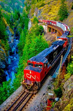 Canada - Twin GE of the Canadian National Railway at the breathtaking Cheakamus Canyon, Squamish, British Columbia, Canada. By Train, Train Tracks, Train Rides, Canadian National Railway, Canadian Pacific Railway, Locomotive, British Columbia, Beluga Wal, Railroad Pictures