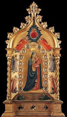 FRA ANGÉLICO ~ La Madonna de la Estrella ~ Témpera sobre tabla, 1424, Museo de San Marcos, Florencia ~ Llamada así porque la Virgen luce una estrella sobre su cabeza. Aparece abrazando a su hijo cariñosamente. En la parte superior la imagen de Cristo hombre entre dos ángeles se inclina hacia su Madre a la que corona.