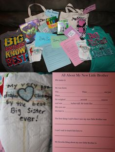 Big Brother/Big Sister Hospital Survival Kits I put together for the kids. When it gets closer I will add their favorite snacks and gum. New t-shirts, canvas bags to decorate with fabric markers, their very own disposable camera and brag book to fill with the photos they take, a personal pack of wipes and a decorated diaper for the first time they change the baby, puzzle for my son/note cards for my daughter, a survey they can fill out about the baby and we'll put in his book as a keepsake.