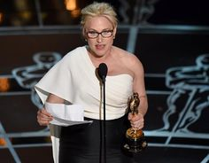 """Patricia Arquette wins for Best Supporting Actress in """"Boyhood."""" In her moving Oscars speech, she calls for wage equality."""