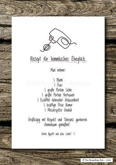 Party Favors - Print / Print: Marriage Happiness (wedding, modern) - hecho a mano por DiePersoenlicheNote en DaWanda - Crystal Wilson Recipe For Marriage, Marriage Tips, Happy Marriage, Wedding Favors, Wedding Gifts, Wedding Book, Party Favors, Pin On, Wedding Quotes