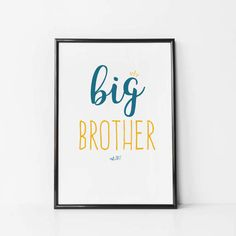 Nursery Wall Art. Personalised Big Brother Print. Established in {date of your choice} - Perfect print for any expectant big brother. *****Please leave the established year in the Notes to seller at check out. Please Note: Frame and decorative items are not included. Print is available in A4 (8x11) or A3 (11x16). These standard sizes fit most high street frames without any alterations. ----------------  Printed on premium 100% cotton rag paper using Ultrachrome pigment inks, resulting in a…