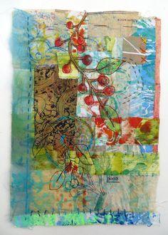 Jane LaFazio - Red Berry Frappe original mixed media art by janeville