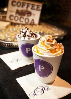 Delicious coffee and cocoa served in monogrammed cups from our winter feature wedding. I love this for my hot choc bar