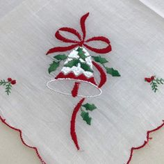 Merry Jingle Bells Bows Holly & Berry Embroidery Designs on Sheer Solid White Cotton Christmas Embro Christmas Embroidery Patterns, Embroidery Designs, Christmas Pillow, Christmas Crafts, Mint Green Paints, Xmas Flowers, Embroidered Gifts, Christmas Templates, Jingle Bells