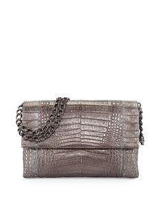 Crocodile+Large+Flap+Shoulder+Bag,+Anthracite+by+Nancy+Gonzalez+at+Bergdorf+Goodman.
