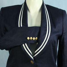 Ralph Lauren size 12 Navy Linen Nautical White Ribbon Trim Gold Buttons Blazer #LaurenbyRalphLauren #Blazer