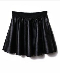 Black Pleated PU Skirt with Elasticated Waist